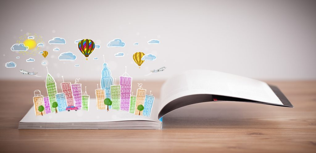 Colorful cityscape drawing on open book