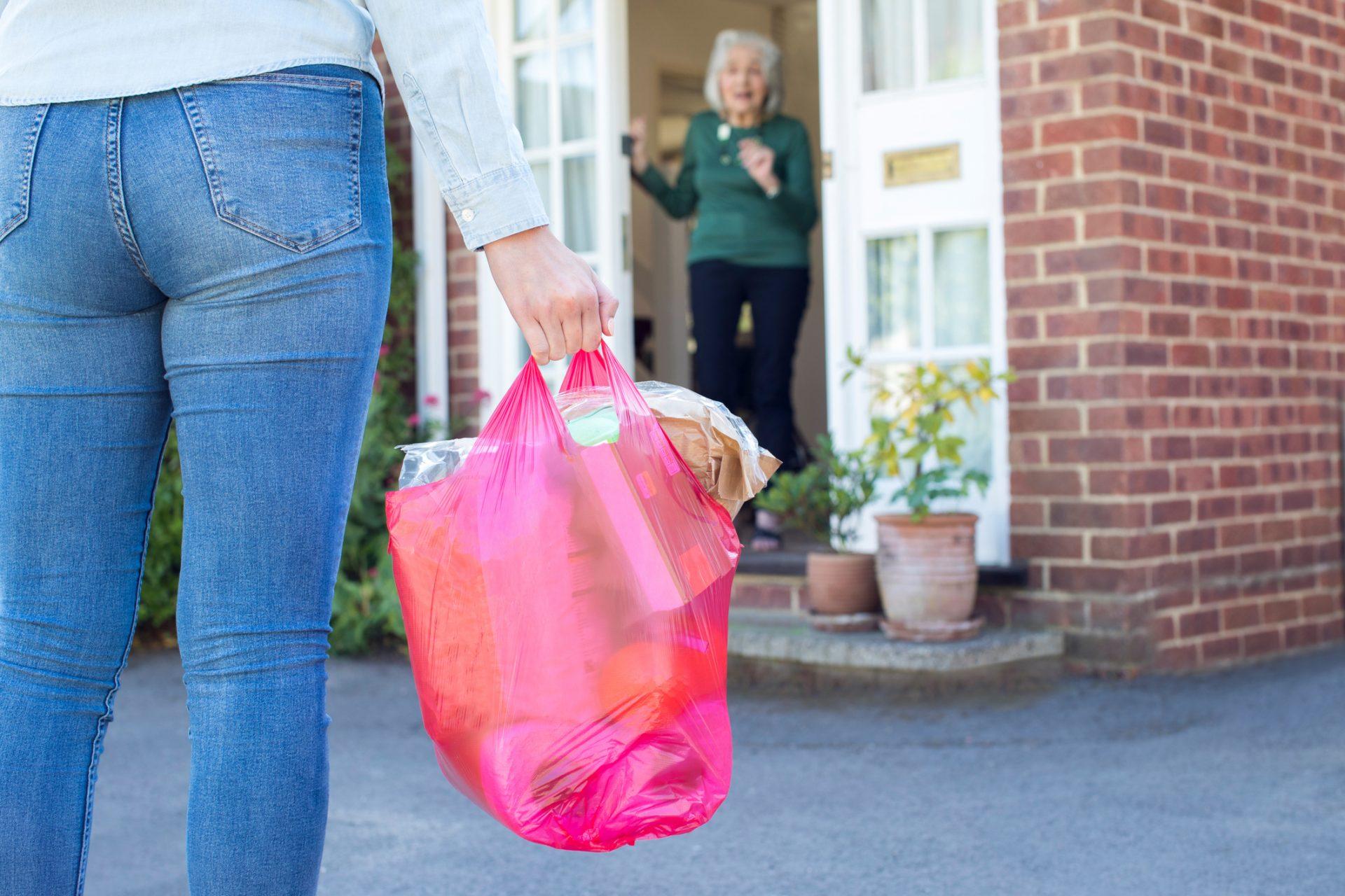 woman bringing groceries to older adult