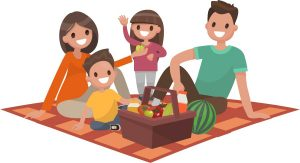 Family picnic illustration