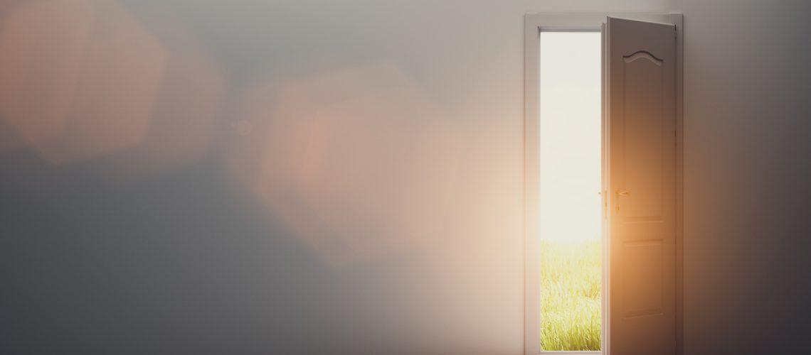 Door open to new better world, positive optimistic future