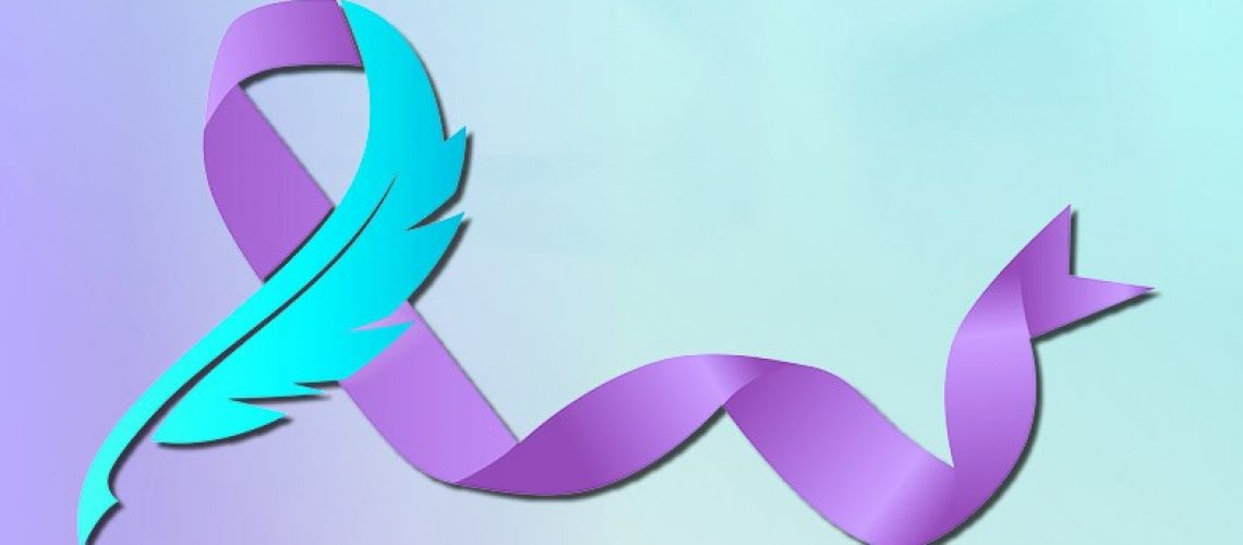 teal feather with purple ribbon