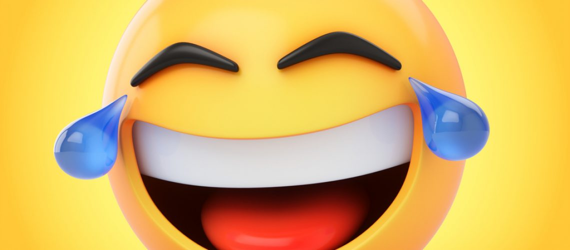 3D Rendering laughing emoji with tears isolated on yellow background.