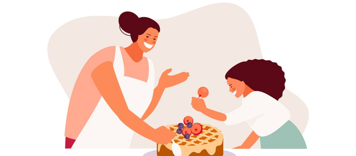 Cooking mother and daughter vector